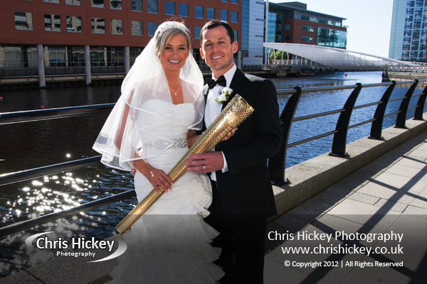 Bride & Groom with Olympic Torch