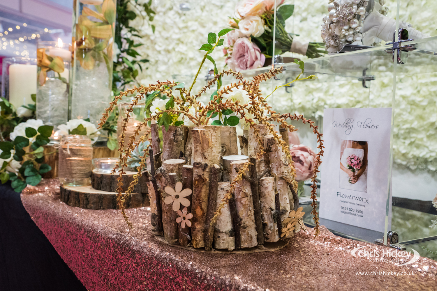 Bark wedding, wedding florist